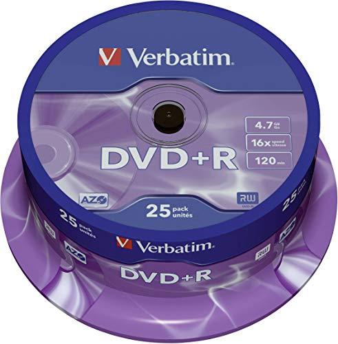 Verbatim DVD+R 16x Matt Silver 4.7GB I 25er Pack Spindel I DVD Rohlinge I 16-fache Brenngeschwindigkeit & Hardcoat Scratch Guard I DVD leer I Rohlinge DVD I DVD Rohlinge Spinde