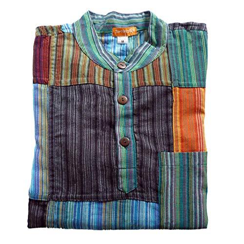 Patchwork Hemd Pullover Shirt Fischerhemd Freizeithemd Freizeitshirt Hippie Goa PSY Sweater Bash (L)