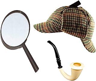 Sherlock Holmes Fancy Dress Accessory Set Deerstalker Hat + Magnifying Glass + Victorian Look Pipe Detective Kit