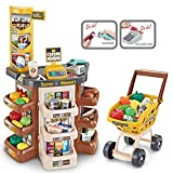Supermarket Grocery Play Store Kids Shopping Play Pretend with Trolley Toy Set, Shopping Cart Grocery Store Playset with Working Scanner Workbench Food Items – Realistic
