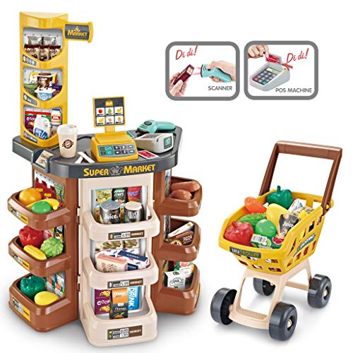 Supermarket Shopping Set for Kids - Pretend Play Shopping Grocery Store w/ Shopping Cart & Scanner, Includ Credit Card Machine/ Fruits / Unique Scan Able Food & Accessories for Boy & Girls (Brown)