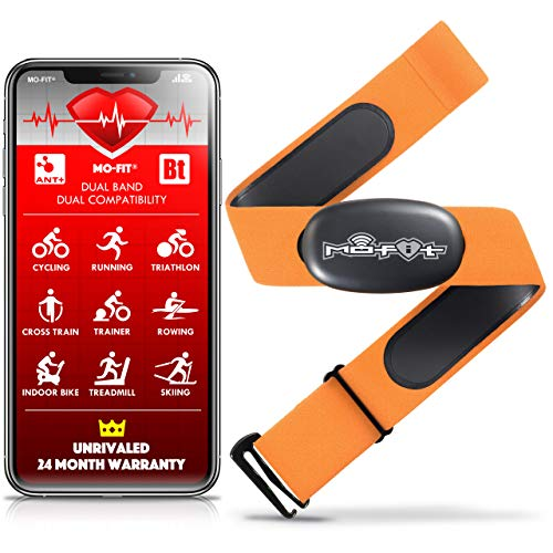 """Mo-Fit Heart Rate Monitor Chest Strap for Garmin, Apple, Android, Peloton, Zwift, ANT+ and Most Bluetooth 4.0 Enabled Fitness Devices (M-XXL: 26""""-39"""" (66-99 cm), Orange)"""