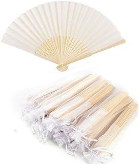 Abanico de tela Abanico Decoración plegable Bambú Ventilador Banquete de boda Regalo del favor del partido con el bolso de...