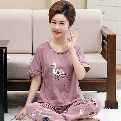 Pijama Camiseta y Pantalones Mujer,Pijamas de algodón de Pantalones de Manga Corta para Damas de Verano, Modelos Delgados de Madres-XXXL_3005 púrpura,Franela Grueso Pijamas