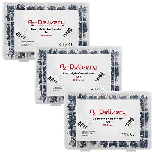 AZDelivery 3 x ElKo Sortiment Elektrolytkondensator Aluminium 24 Werte 500 Stück 0.1uF – 1000uF mit Aufbewahrungsbox