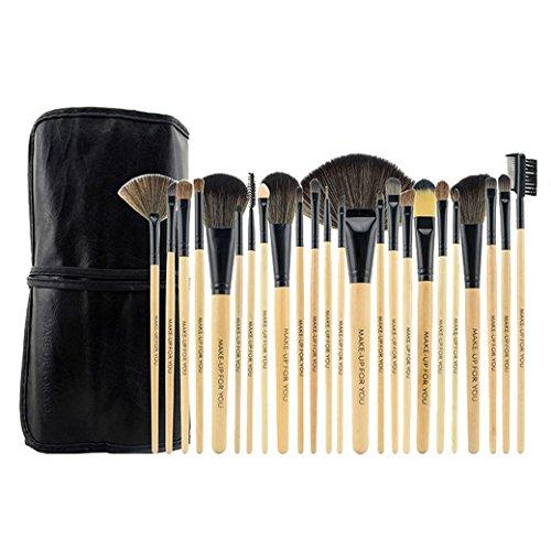 PREMEWISH Pinceaux Maquillage Cosmétique Professionnel Ensemble de 24PCS Set/Kit Cosmétique Brush Beauté Maquillage Brosse Makeup Brushes Cosmétique Avec Sac(Beige)