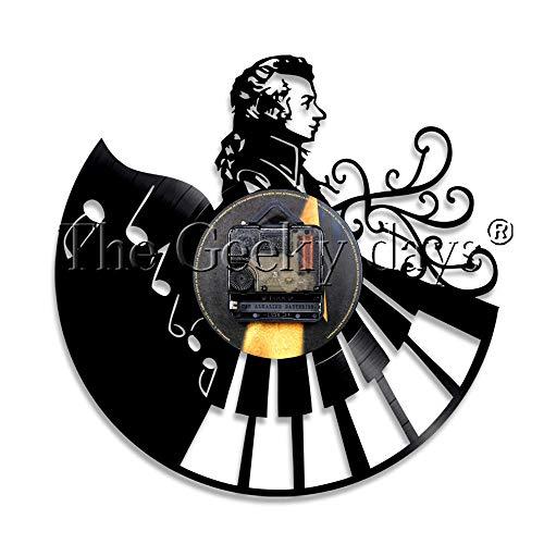 LTOOD Muzikant Wolfgang Amadeus Mozart Piano Vintage Vinyl Record Wandklok Home Decor Wandhorloge Wandklok Voor Muziek Leraren Gift