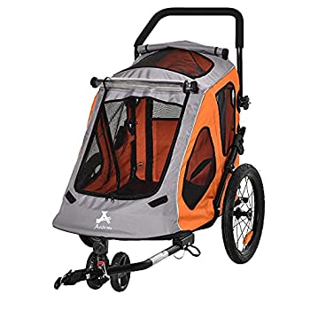Aosom Dog Bike Trailer 2-in-1 Pet Stroller Cart Bicycle Wagon Cargo Carrier Attachment for Travel with 360 Swivel Wheel Reflectors Parking Brake Straps Cup Holder Orange