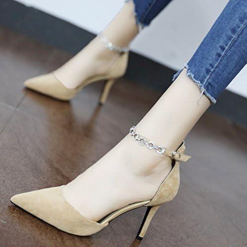 Xue Qiqi Spitze des high-heel Schuhe und vielseitige geschlitzten Kette dünn und hohlen flachen Mund einzelne Schuhe