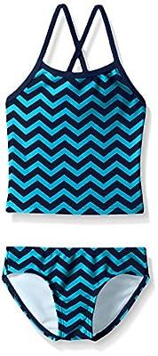 Kanu Surf Girls' Big Melanie Beach Sport 2-Pc Banded Tankini Swimsuit, Alexa Blue Chevron, 14