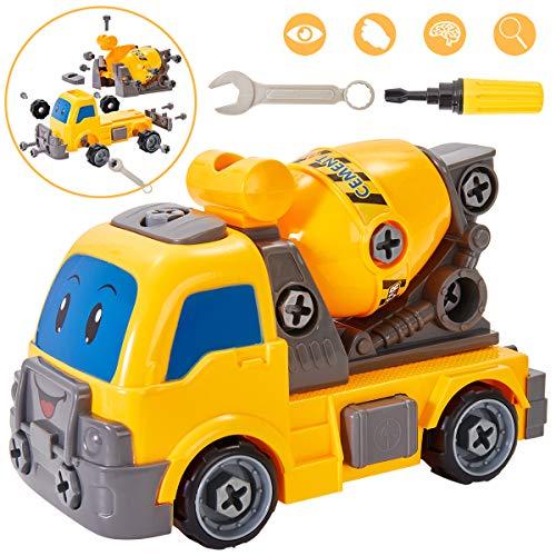 Buyger Kinder Montage Betonmischer Spielzeug Auto LKW Baufahrzeuge Spielzeugauto DIY Lastwagen Geschenke für Kinder Junge 3 Jahren