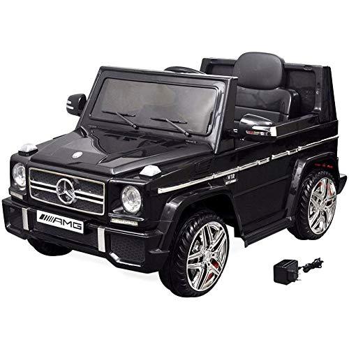 Wakects Coche eléctrico para niños,Correpasillos Eléctrico Mercedes Benz G65 SUV 2 Motores Negro,120 x 70 x 52 cm