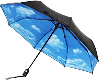 WMS Umbrella Double Windproof Reinforcement Automatic Folding Umbrella Mens Female Large Rain and Rain Dual-use Sun Umbrella Color : Black