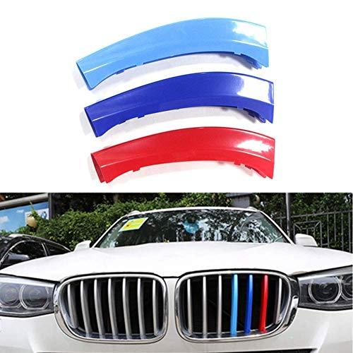 Tiras de moldura de rejilla delantera, decoración de cubierta de parrilla para BMW X3 X4 F25 F26 2011 a 2017, 7 rejillas, inserciones, rejillas de riñón, campana, radiador, parrilla, rayas, decoración