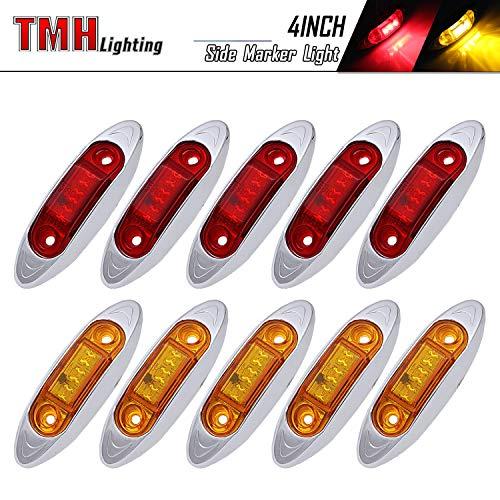 TMH Mini Side Led Marker (QR Model) 5 Pcs Amber Light + 5 pcs Red Light with Chrome Bezel, Universal LED Clearance Markers for Truck Trailer Boat ATV Marine Marker lights, side marker lights