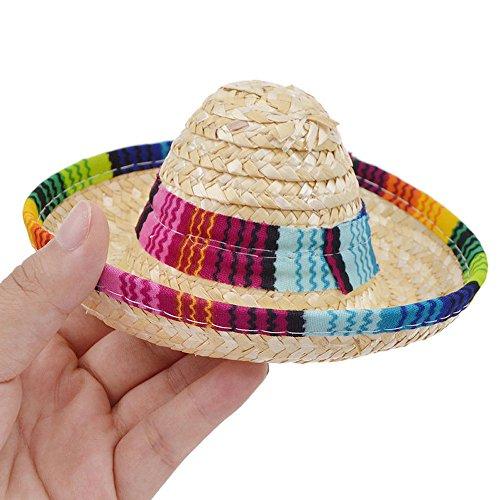 squarex Mexikanisches Stroh Sombrero-Hut für Hunde, Katzen, Verstellbare Schnalle