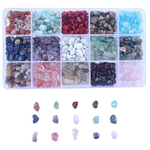 VGY 15 Colores Surtidos Perlas de Piedras Preciosas en Forma de fichas Naturales de Forma Irregular Kits para Pulseras de artesanías de Bricolaje Collares Colgantes de joyería (Color Shown)