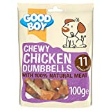 Good Boy - Chewy Chicken Dumbbells - Dog Treats - Made with 100% Natural Chicken Breast Meat - 100 g ℮ - Low Fat Dog Treats - Case of 8