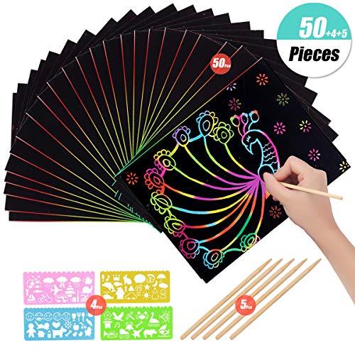 YuChiSX 50 hojas Rainbow Scratch Art Paper,Magic Painting Papers de Pintura Mágica Scratch Boards con 5 Piezas Palillos Stylus 4 Reglas de Pintura