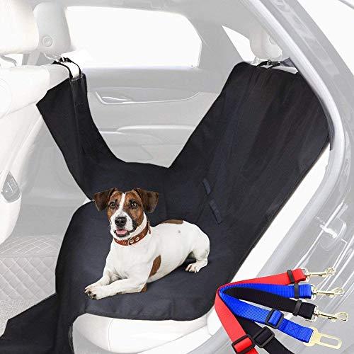 Pack 2 en 1: Funda Protectora de Asientos y Enganche cinturón de Seguridad para Perros para el Coche (185 x 156cm) | Enganche Universal a cinturón de Seguridad del vehículo