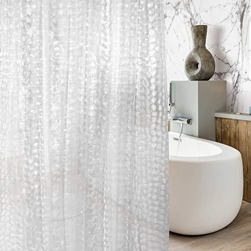 Duschvorhang Anti-Schimmel mit Gewicht Magnet unten,0.15mm Transparent 3D Kubisch Eva Wasserdicht Antibakteriell Vorhang für Dusche und Badewanne mit 12 Duschvorhangringen (180 x 200 cm)