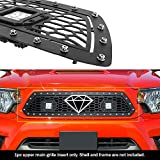 APS Compatible with 2012-2015 Tacoma Main Upper Stainless Steel Black Laser Cut Mesh with Stud Rivets & LED Grille Insert TL6971L