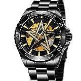 Excellent Reloj para Hombre Reloj mecánico de Estrella de Cinco Puntas automáticas para Hombres Reloj de Pulsera Casual con Manos Luminosas dial Redondo 3atm 30 Metros Impermeable,C01