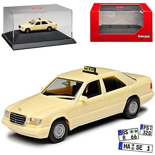Mercedes-Benz E-Klasse W124 Limousine Taxi 1984-1997 mit Sockel und Vitrine H0 1/87 Herpa Modell Auto mit individiuellem Wunschkennzeichen