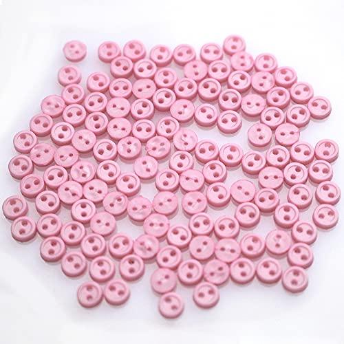 sempiterno ミニチュア プラスチックボタン 人形の服のボタン 2つ穴 4mm 手作り部品 DIYで作る ミニボタン  ドール人形 ぬいぐるみのため ドール服 縫製材料 収納ボックス付き (ピンク50個セット)