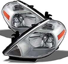 For 2007-2012 Nissan Versa Amber Chrome Bezel OE Replacement Headlights Driver/Passenger Head Lamps Pair