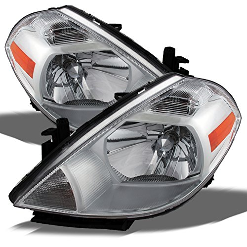 For 2007-2012 Nissan Versa Amber Chrome Bezel OE Replacement Headlights Driver/Passenger Head