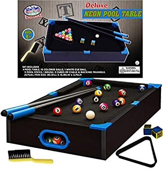 Matty s Toy Stop Deluxe Wooden 20  Mini Table Top NEON Pool  Billiards  Table with 15 Colored Balls 1 Cue Ball 1 Brush 2 Pool Sticks 2 Cubes of Chalk & Racking Triangle