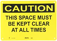 """Master Lock S9601 14"""" Width x 10"""" Height Polypropylene, Black on Yellow Safety Sign, Header """"Caution"""", Legend """"This Space Must Be Kept Clear At All Times"""""""
