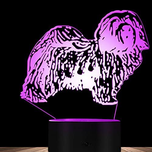 3D Ilusión óptica Lámpara LED Perro Luz de noche Deco 7 colores usb Decoracion Dormitorio escritorio mesa para niños adultos del partido cumpleaños Luces nocturnas de mesa
