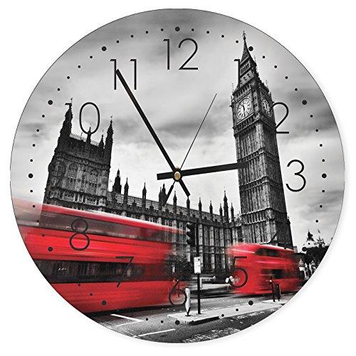 Feeby, Reloj de Pared, Multicolor Deco Panel con Reloj, dimetro 40 cm, Londres, Big Ben, Edificio, AUTOBUSES, Rojo, Blanco Y Negro