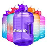 BuildLife 1 Gallon Water Bottle -Leakproof Straw Lid BPA Free Water Jug with Time Marker to Ensure You Drink Enough Water Throughout The Day (Light Purple, 1 Gallon)