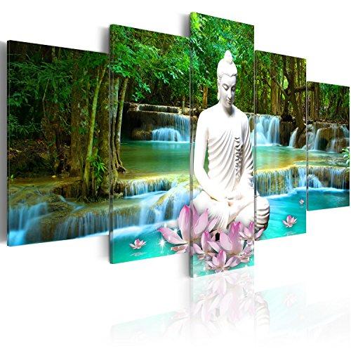 artgeist Glass Wall Art Acrylic Print 39.4' x 19.7' Image Picture Photo Painting Artwork 5pcs Home Decor Buddha Zen h-C-0048-k-n