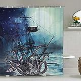 Octopus Duschvorhang Ocean Kraken Attack Pirat Schiff Duschvorhang mit 12 Haken, Octopus Segelboot Welle Berg unter Mond Sternenhimmel Duschvorhang Wasserdicht Langlebig 70