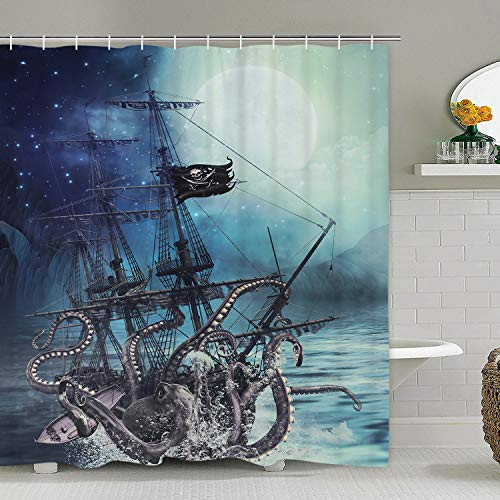 Octopus Shower Curtain Ocean Kraken Attack Nautical Pirate Ship Shower Curtain with 12 Hooks, Octopus Tentacles Sailboat Wave Mountain Under Moon Starry Sky Shower Curtain, Waterproof Durable
