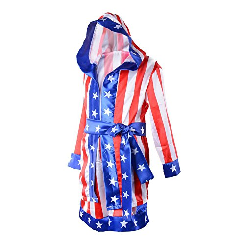Wraith of East Kids Boxing Costume Rocky Balboa Apollo American Flag Robe Boy Cosplay Kickboxing Hoodie Robe+Belt, L