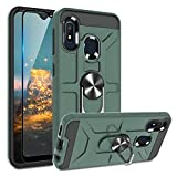 TJS Phone Case Compatible with Samsung Galaxy A10E/A20E 5.8' (Not Fit Galaxy A10/M10), with [Full Coverage Tempered Glass Screen Protector] Resistant Defender Metal Ring Magnetic Support Cover (Green)