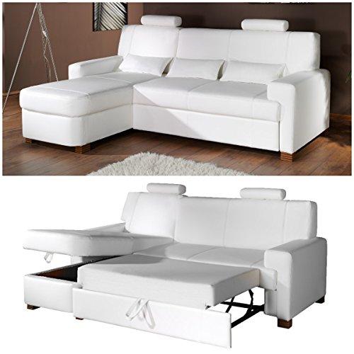 Polsterecke Sofa MODENA Wohnlandschaft Schlafsofa mit Schlaffunktion Schlafcouch Kunstleder Webstoff by Moebella®