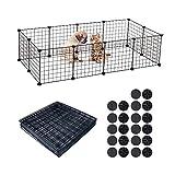 BUONDAC 12piezas Vallas Animales Pequeños Mascotas Cachorro Conejos Jaula Animales Perros Pequeños Metálica Interior Exterior con 22 Conectores
