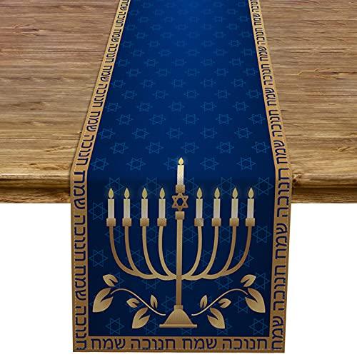 Pudodo Hanukkah Table Runner Chanukah Menorah Jewish Festival Holiday Party Table Decor Kitchen Dining Home Decorations