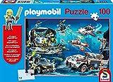 Schmidt Spiele Top Agents-Puzzle Infantil (100 Piezas, con Figura Playmobil), Color Azul (56272)