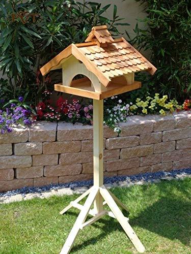 Vogelhaus,groß,mit Ständer,BEL-X-VONI5-LOTUS-LEFA-MS-hbraun002 Robustes, stabiles wetterfestes PREMIUM Vogelhaus mit wasserabweisender LOTUS-BESCHICHTUNG VOGELFUTTERHAUS + Nistkasten 100% KOMBI MIT NISTHILFE für Vögel KOMPLETT mit Ständer wetterfest lasiert, FUTTERHAUS für Vögel, WINTERFEST - MIT FUTTERSCHACHT Futtervorrat, Vogelfutter-Station Farbe braun hellbraun behandelt / lasiert braun/orange/natur, MIT TIEFEM WETTERSCHUTZ-DACH für trockenes Futter
