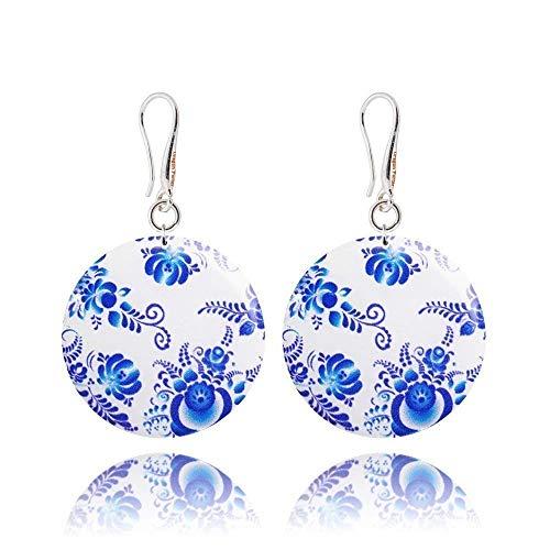 Handgefertigte Bblau Weiß Russischen Orientalisch Stil Baumeln Ohrringe Geschenke für Frauen; Unique Gzel Muttertag Schmuck; Durchmesser 3cm