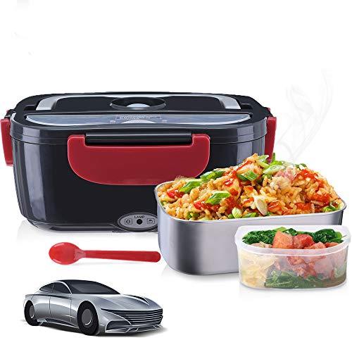 Janolia Scaldavivande Elettrico, Lunch Box Elettrico per Auto Acciaio Inossidabile Portatile Essenza Riscaldamento Cuociriso Vaporiera per Picnic.