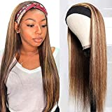 UNice Ombre Highlight Straight Headband Human Hair Wig Honey Blonde Color, Brazilian Human Hair Glueless None Lace Front Machine Made Wigs for Black Women 150% Density 18inch
