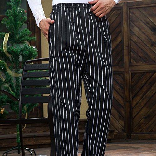 MagiDeal Chef Koch Hosen Elastischer Bund gestreift Arbeitskleidung 3 Muster Größen: M, L, XL,2XL,3XL,4XL – Stil 2, M - 3